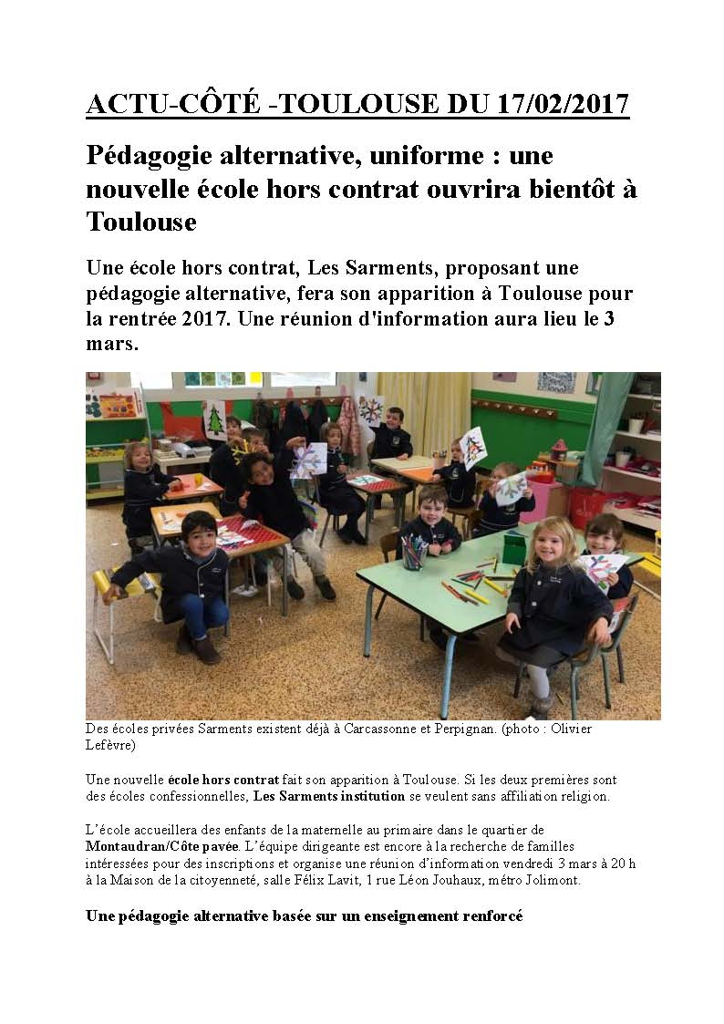 ARTICLE ACTU TOULOUSE 17 02 2017 Page 1